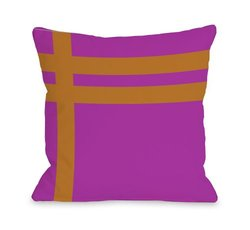 "Bentin Home Decor Meeting Stripes Outdoor Throw Pillow by OBC, 18""x 18"", Fuchsia/Orange"