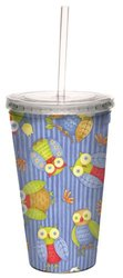 Tree-Free Greetings 80286 Adorable Owls by Debbie Mumm Artful Traveler Double-Walled Acrylic Cool Cup with Reusable Straw, 16-Ounce