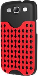 iLuv Samsung Galaxy S3 S III Frill Hardshell Case with Pocket - Non-Retail Packaging - Black/Red