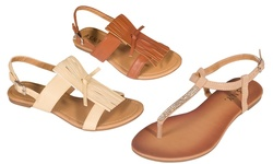 ASNY Women's Dixie Flat Sandals - Beige - Size: 8