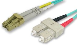 Lynn Electronics LCSC-10GIG-10M 50/125-10 Gig Aqua Duplex Multi-Mode Fiber Optic Patch Cable, LC-SC, 10 Meters in Length Aqua