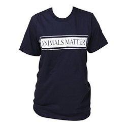 Animals Matter Crew Neck T-Shirt, Small, Navy Blue