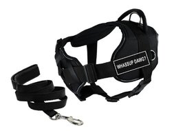 "Dean & Tyler's DT Fun Chest Support ""WHASSUP DAWG"" Harness with Reflective Trim, Large, and 6 ft Padded Puppy Leash."