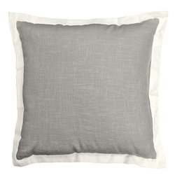 Veratex Central Park 100% Linen Made in the USA Linen Throw Pillow, Gray