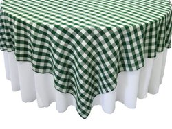 LA Linen Poly Checkered Square Tablecloth, 72 by 72-Inch, Green/White