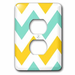 lsp_179797_6 Big Yellow and Teal Chevron Zig Zag Pattern - Turquoise Zigzag Stripes 2 Plug Outlet Cover