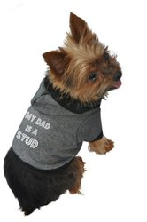 Ruff Ruff and Meow Dog Hoodie, My Dad is a Stud, Black, Extra-Small