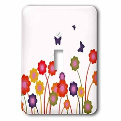 A Row of Cute Orange Yellow & Blue Flowers & Butterflies 1-Toggle Switch