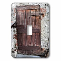 lsp_205029_1 Print of Ancient Wooden Door Against Brick Wall Single Toggle Switch