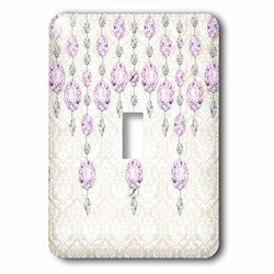 lsp_211113_1 Purple Sparkle Jewels Over A Light Damask Single Toggle Switch