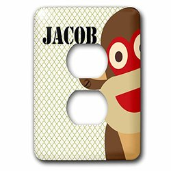 lsp_178986_6 Jacob Boys Name Monkey 2 Plug Outlet Cover