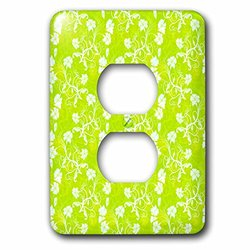 lsp_169143_6 Pretty Lime Green and White Hawaiian Vine Flowers Pattern 2 Plug Outlet Cover