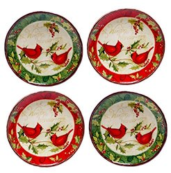 Certified International Winter Wonder pc. Canape Plate Set 4, Red