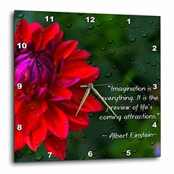 dpp_157332_1 An Inspirational Print with a Quote by Albert Einstein and a Beautiful Dahlia Flower Wall Clock, 10 by 10-Inch