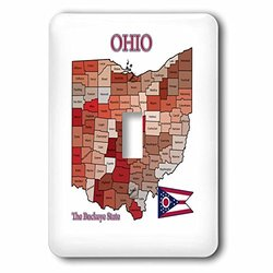 lsp_205189_1 Map, Flag and Nickname of Ohio with All Counties Colored and Labeled Single Toggle Switch