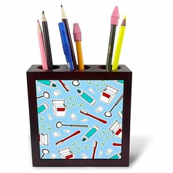 ph_165818_1 Cute Dentist Dental Hygienist Print Blue Tile Pen Holder, 5""