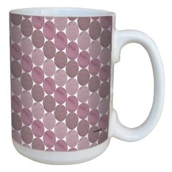 Tree-Free Greetings lm43663 Cool Purple Oval Stripes by Shell Rummel Ceramic Mug with Full-Sized Handle, 15-Ounce, Multicolored
