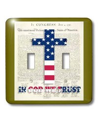 lsp_22367_2 Declaration Of Independence Background with Christian Cross In Usa Colors Double Toggle Switch