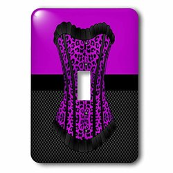 lsp_58703_1 Purple and Black Cheetah Print Corset on Black Fishnet Single Toggle Switch