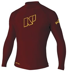 NP Surf Contender Long Sleeve Rash Guard Water T-Shirt with Sun Protection, Maroon, X-Small