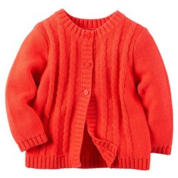 Carter's Baby Girl's Cable Knit Cardigan - Red - Size: 18 Month