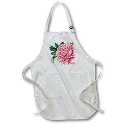 Pretty Pink Peony Vintage Botanical Art - Medium Length Apron, 22 by 24-Inch, with Pouch Pockets (apr_99406_2)