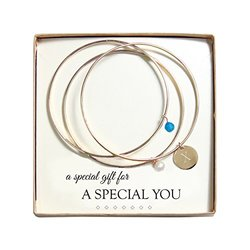 Cathy's Concepts Crystal and Pearl Gold Bangles, Monogram X, Caribbean Blue