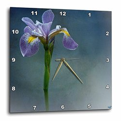 Iris Mist Blue Floral Flower - Wall Clock, 10 by 10-Inch (dpp_55962_1)