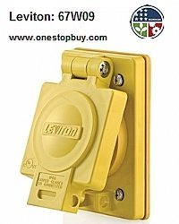 Leviton Flush Receptacle w/Cover Locking Blade Wetguard - 3-Pack -Yellow