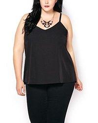 Penningtons Women's Dual Layer Shell Top - Black - Size: 5X