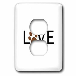 lsp_180483_6 Love with Brown Paw Print For O. Animal Lover Pet Owner Pawprint Gift 2 Plug Outlet Cover
