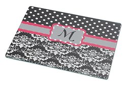 "Rikki Knight Initial ""M"" Grey Pink Black Damask Dots Large Glass Cutting Board Workspace Saver, 15.3 x 11.3-Inch"