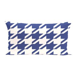 E By Design Houndstooth Geometric Print Outdoor Seat Cushion - Blue Suede