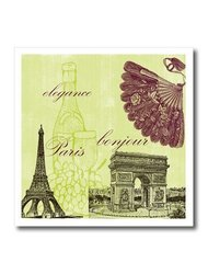 ht_79112_3 Paris Elegance Vintage Art- Wine- Eiffel Tower Iron on Heat Transfer, 10 by 10""