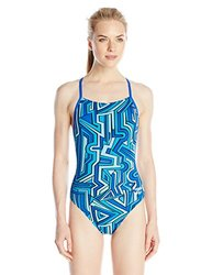 Speedo Women's Conquers All Touch Back Swimsuit, Blue, 38
