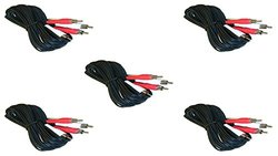 C&E 5 pack, 25 Feet 2 RCA Male to Male Audio Cable (2 White/2 Red Connectors) , CNE467097
