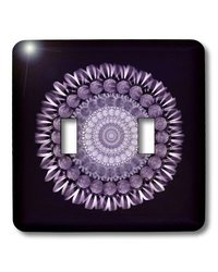 lsp_31685_2 Rich Purple Floral Mandala on Black Background Double Toggle Switch