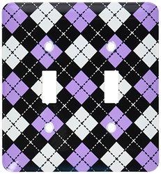 lsp_20417_2 Argyle Design Purple Black White Double Toggle Switch