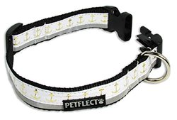 Petflect Gold Anchors on White Reflective Collar, X-Large