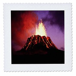 Hawaii Volcano Eruption At Night - Quilt Square, 12 by 12-Inch (qs_8120_4)