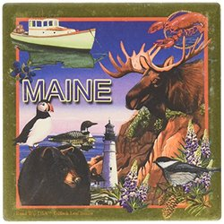 """CoasterStone SQ043 Absorbent Coasters, 4-1/4-Inch, """"Maine"""", Set of 4"""