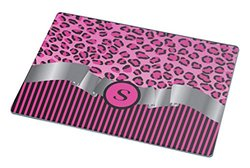 "Rikki Knight RK-LGCB-2408 Hot Pink Leopard Print and Stripes Glass Cutting Board, Large, Monogram ""S"", Sky Blue"