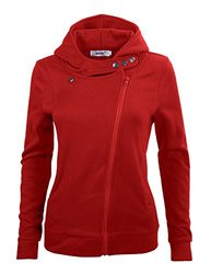 Bepei Women's Long Sleeve Zip-up Hoodie Fleece Jacket - Red - Size: L