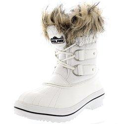 Polar Women's Fur Cuff Lace Up Winter Snow Rain Boots - White - Size: 9