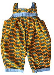 Dsenyo Fair Trade Baby & Toddler Pleated Overalls - Waves - Sz: 6-12 Mnths