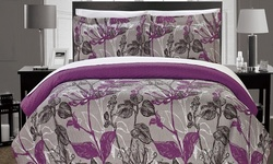 Chic Home Plumeria Abstract Floral Print Quilt Set 3PC - Grey - Size: Q