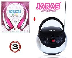 Jaras 2-Pack Bundle Kids Package + Sport Portable Stereo CD Player with AM/FM Stereo Radio and Headphone Jack + Jaras Pink Kids Headphones Included in the Bundle Package