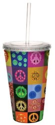 Tree-Free Greetings 80103 Peace is Everywhere Collectible Art Double Wall Cool Cup with Straw, 16-Ounce, Multicolored