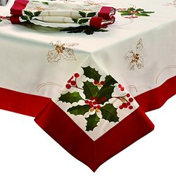 CHI Holiday Embroidered Rectangular Tablecloth, 70 by 120-Inch, Holly Berries with Red Trim Border