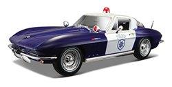 Maisto 1965 Chevy Corvette Police Diecast Vehicle (1:18 Scale)